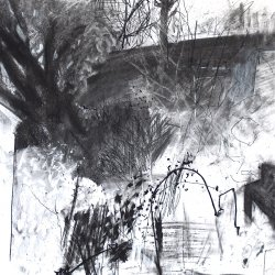 Leaning Arch, charcoal on paper